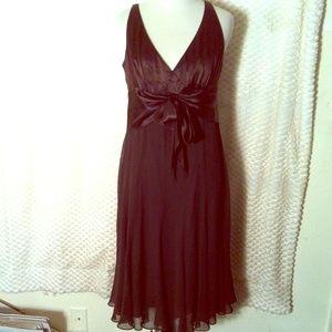 100% Silk Maggy London Chocolate Brown Dress